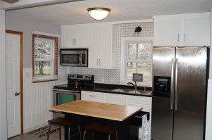New kitchen - center island and stools to stay