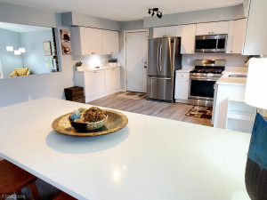 Gorgeous gleaming quartz countertops. Kitchen also has new large patio door.