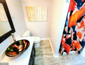 Lower lever living has another 3/4 bath, with fun Fish vessel bowl decor!