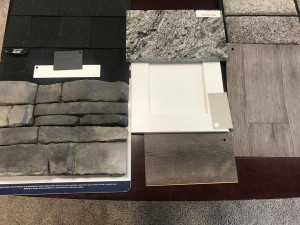 Selection of stone, countertops, cabinets, flooring, and shingles