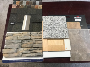 Selections made for stone, granite, cupboards, flooring, shingles