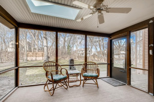 Stay bug free in the screened in porch while you have your beverage of choice, day or night.