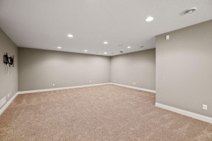 Spacious lower level family room with fantastic ceiling height and in ceiling speakers.