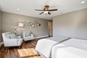 The master suite features a walk-in closet and private master bath