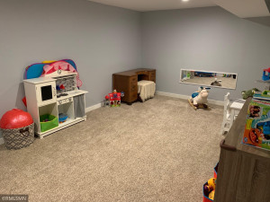 Rec room currently being used as a toy room.