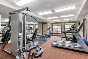 Shared exercise room and community room areas
