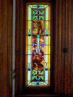 Closer look at the details in the stained glass.