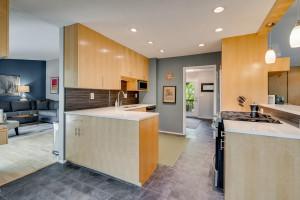 Kitchen w/ Birch cabinets and Quartz countertops