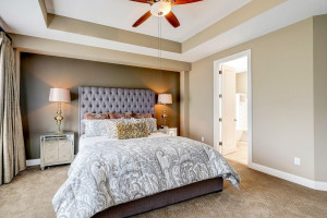 Automated custom curtains, ceiling fan & LARGE walk-in closet!