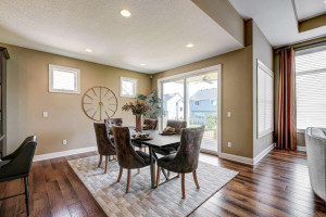 From dining room, walk right out to the covered deck and to the backyard.