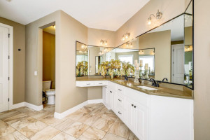 Spa-like master bath offers double sinks, make-up vanity, walk-in shower and...