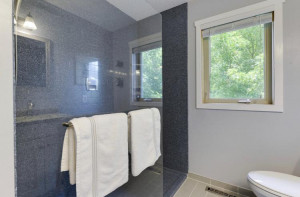 A large, open walk-in shower is very popular today in bathrooms.