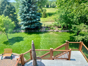View from an upstairs window, this fully fenced yard could be yours! Backing up to the property is part of the city community gardens. There is a loop around that space for walking.