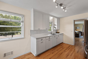 Kitchen has space for an informal dining area