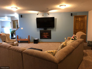 Mounted TV, Sleeper Sectional and Electric Fireplace will remain with home.