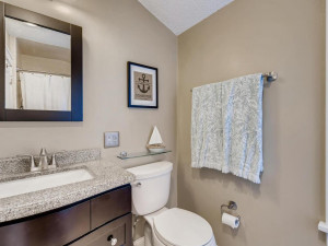 Updated full bath on upper level with bedrooms