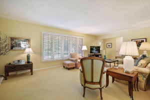 Wide louver window shades and tasteful decor.
