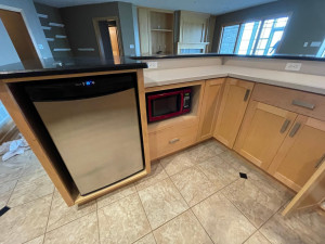 LOWER LEVEL BAR WITH REFRIGERATOR AND MICROWAVE