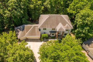 Aerial view of this stately colonial home with six bedrooms and five baths.