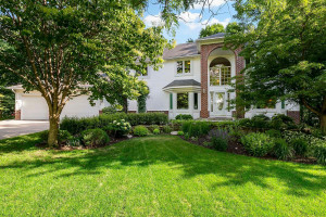 Landscaping that's easy to maintain with colorful perennials, shrubs and trees that flower throughout the season. The home is sided with dutch lap vinyl siding and brick wainscoting.