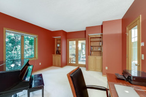 Main level study with French doors, built-ins and lots of light!