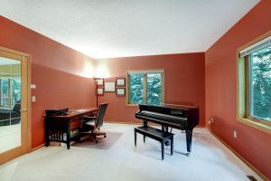 Large main-floor study, can double as a music room.