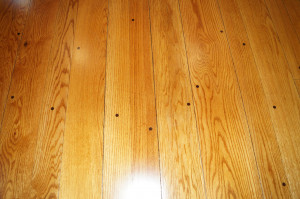 Plank and pegged oak floors in living room