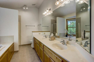 Private Master bathroom with separate shower and large double vanity.