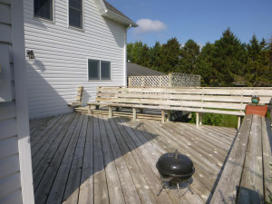 Rear deck with hot tub area in background
