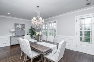 Great dining room with crystal chandelier for entertaining - so much light and space!