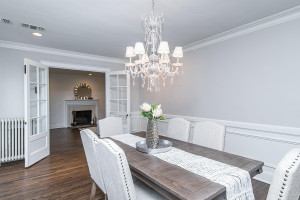 French doors usher you into this gorgeous dining room!
