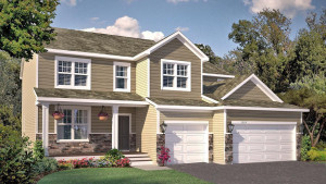 The distinctive architecture of the Jordan plan provides admirable curb appeal and a welcoming covered front porch. *pictures are of model home, actual colors may vary.