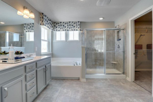 Enjoy the benefits of a having both shower and a deep soaking tub. *pictures are of model home, actual colors may vary.