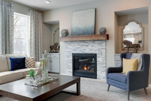 Gas fireplace with mantle, surround and base cabinets provide a visual beauty to accent the family room. *pictures are of model home, actual colors may vary.