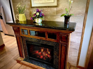 Electric Fireplace with Variable Flame and Heat Settings