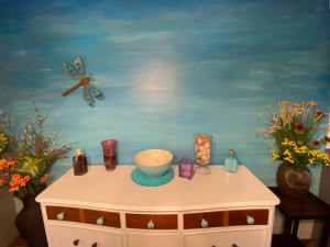 A Custom Feature Here is This Mural on the Accent Wall.