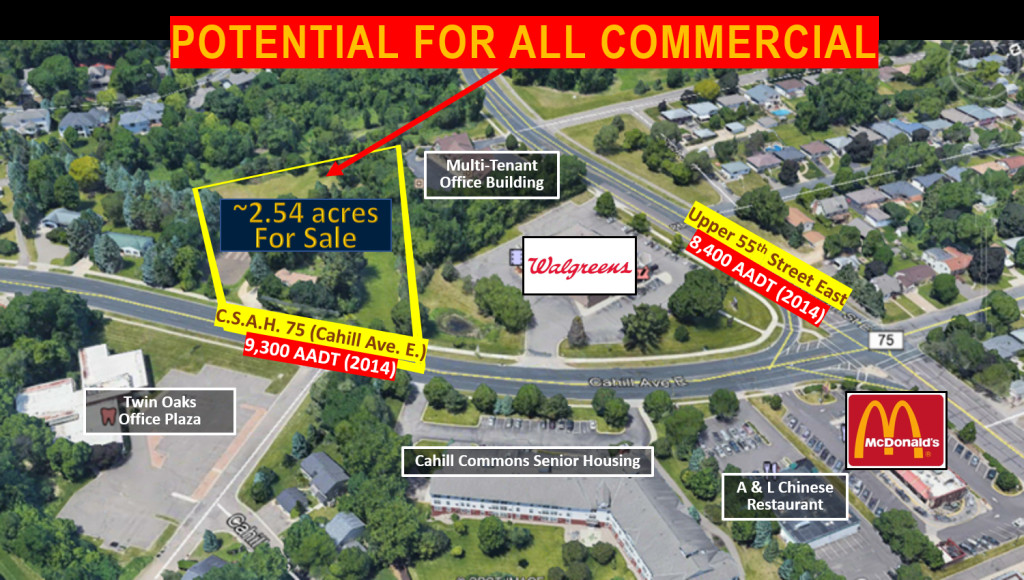 Next to Walgreens, just down from McDonald's, and across from multi-unit housing complexes and office plaza.