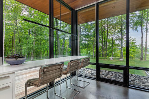 Eat-in kitchen with glimpses of Twin Lake.