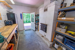 Garage Workshop with Rear Loading Fireplace
