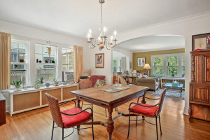 Stunning lighting accents this dining space. 1484 Summit Avenue, St. Paul, MN.