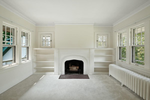 The upstairs unit has a carpeted main living area which helps with noise control. 1484 Summit Avenue, St. Paul, MN.