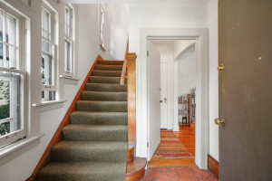 Here is the front entryway to the home that leads to individual unit front doors. 1484 Summit Avenue, St. Paul, MN.