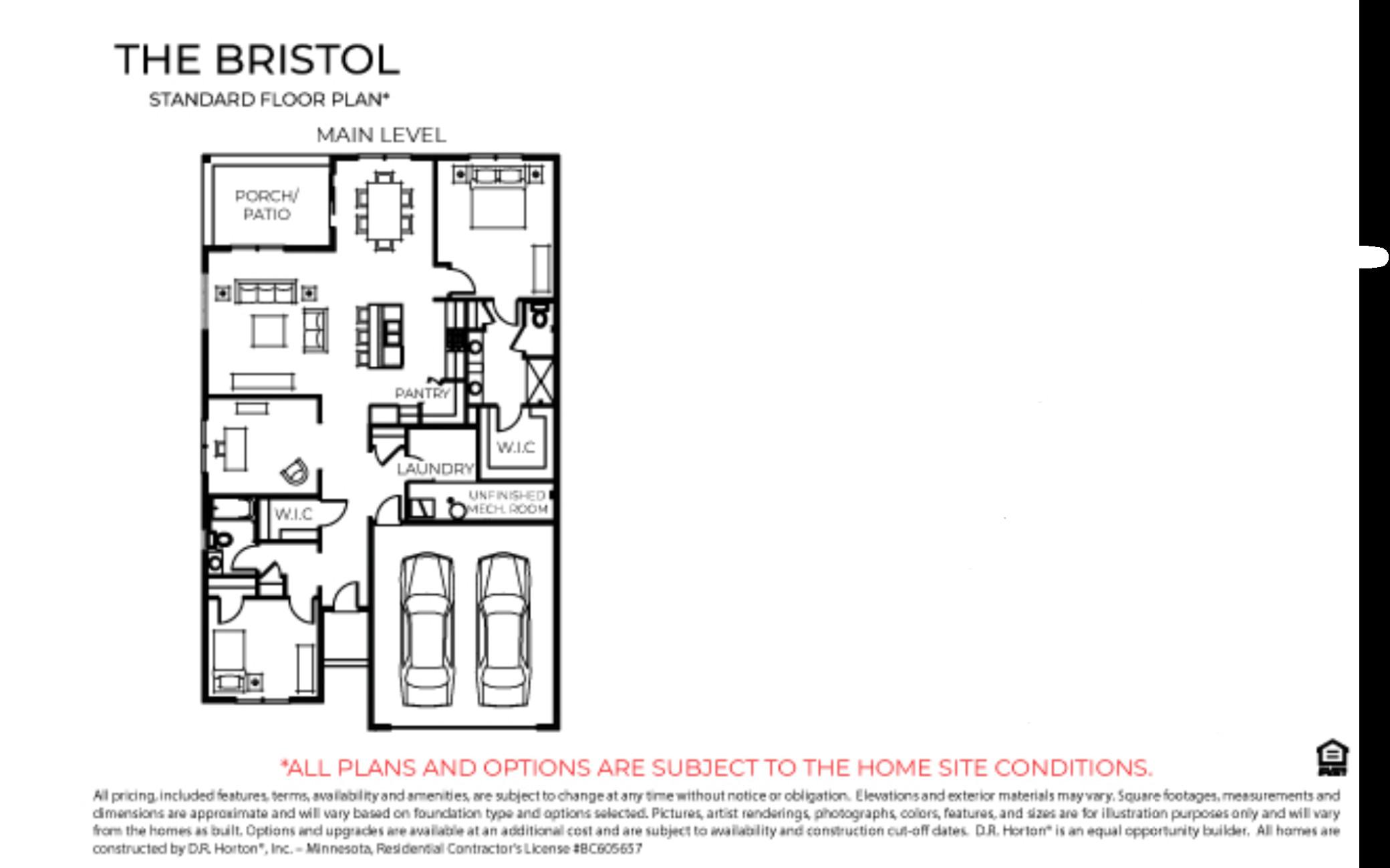 Bristol slab on grade floorplan but includes a 3rd stall garage.