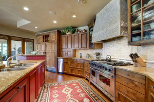appliances are top of the line along with a stone vent hood