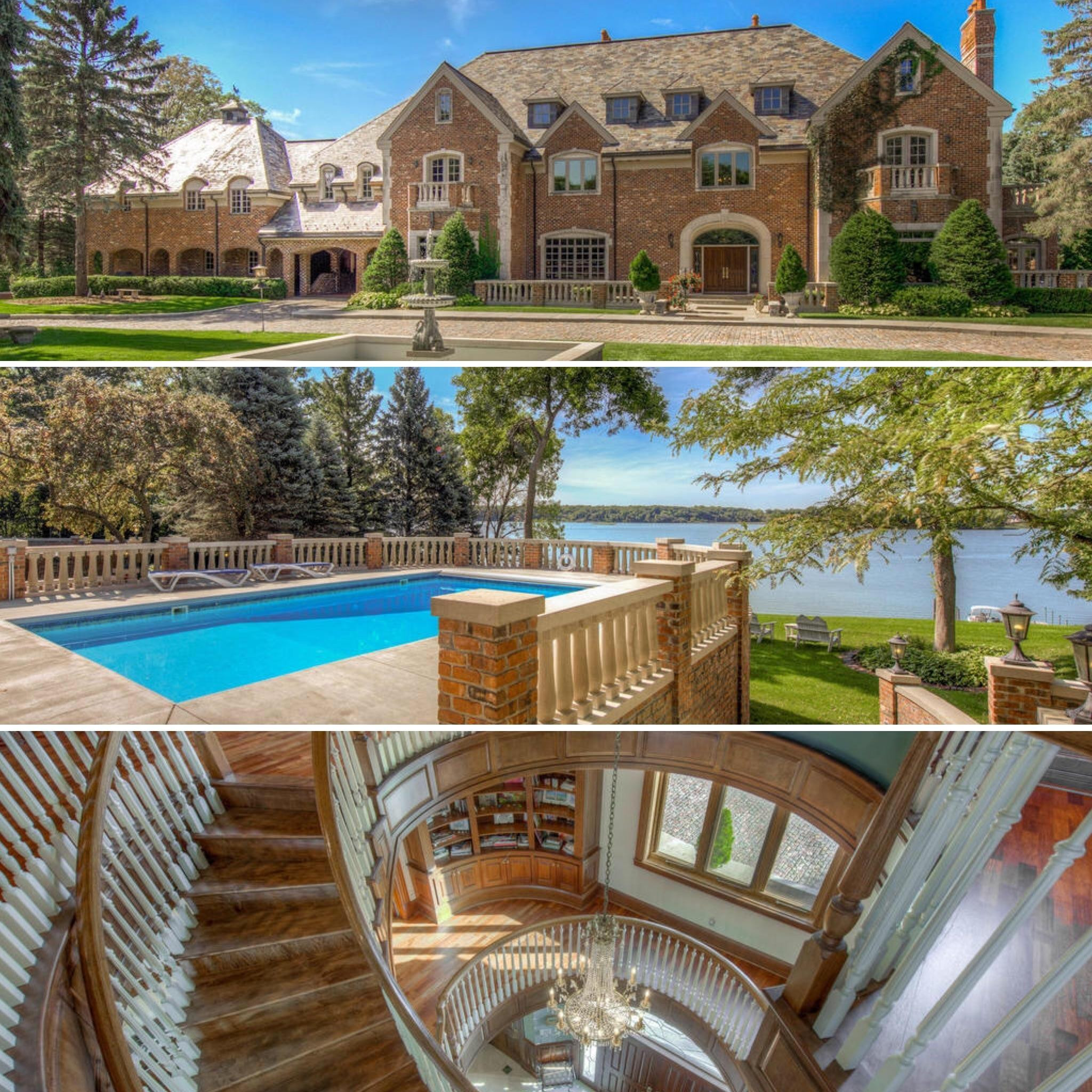 Front, pool to lake and foyer from top floor