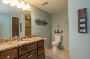 Lower level bath with beautiful granite and ceramic tiled shower