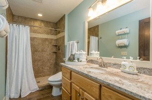 Main Floor Master Bath, beautifully tiled ceramic step-in shower, granite vanity top and even a bidet toilet seat (easily removable).