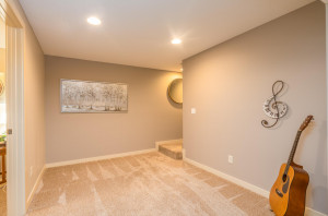 Lower level play room/music room. An open space adjacent to the family room that is ideal for a piano, craft table or foosball table!
