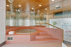 The hot tub spa area greets you prior to the pool.