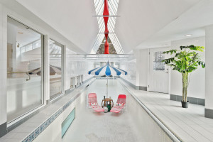 One of a kind indoor lap pool with access to multipe roof decks.